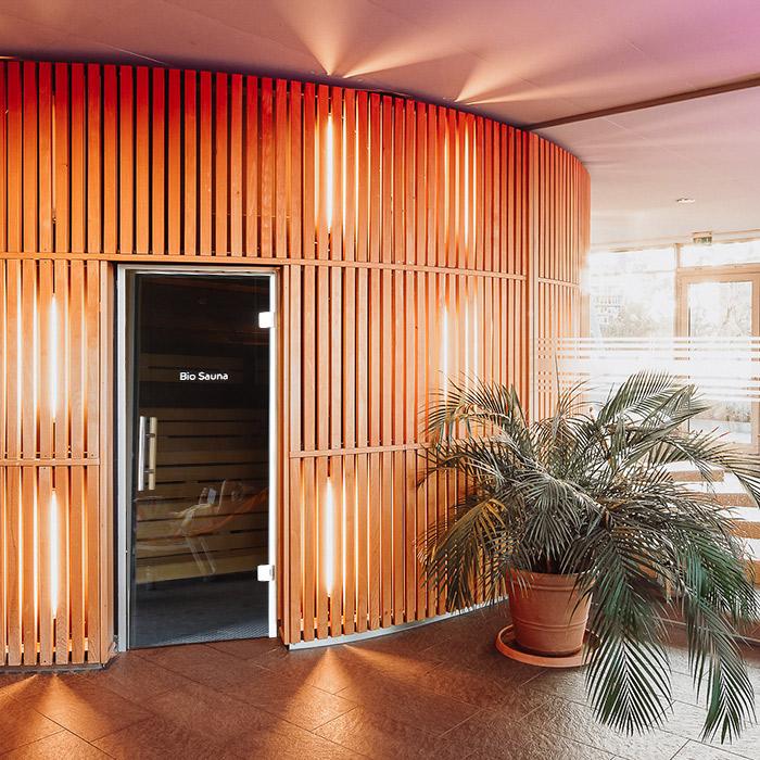 Eine runde Sauna im Fitnessstudio Rückgrat Freiburg